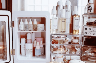 Should skin creams, masks, toners, and cosmetics be stored in the refrigerator?