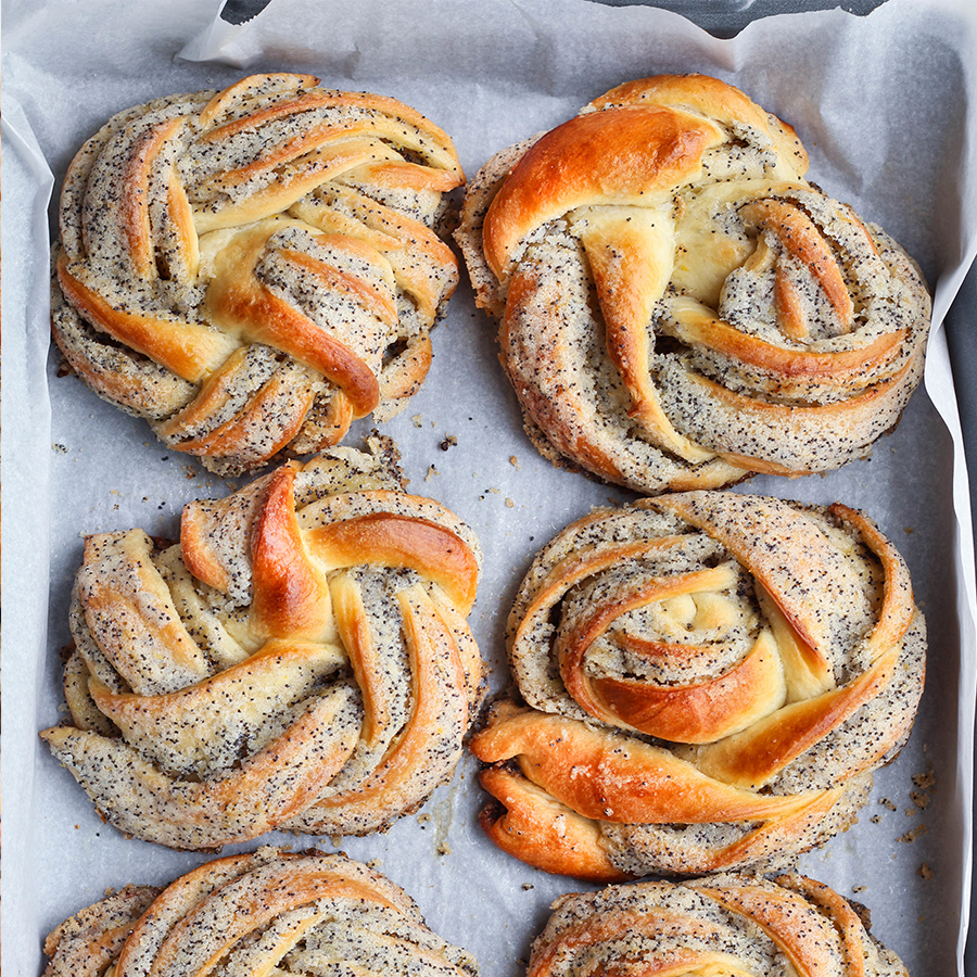 Homemade Poppy Seed Bread Twists out of oven
