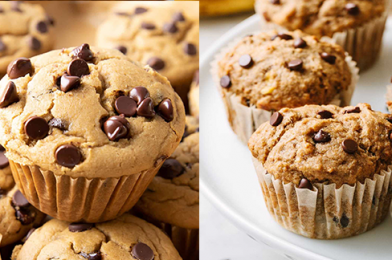 Healthy Chocolate Chips Peanut Butter Banana Muffins